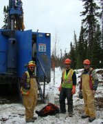 Crew working with the RC Drill Rig on the western portion of the Douay Gold Project