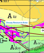 PR-03-14-2018 Magnitude of NE Syenite Target vs Douay Resource Area. Note position of initial hole DO-18-220. Geological base map shows location of both syenitic intrusive complexes within Casa Berardi Tectonic Zone